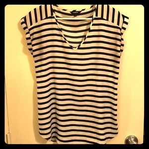 Express Striped Black and White Top
